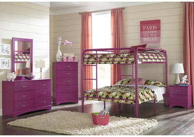 Image for Metal Raspberry Full/Full Metal Bunkbed