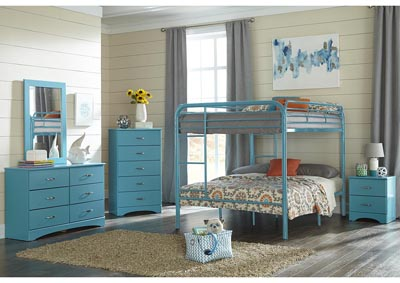 Image for Metal Turquoise Full/Full Metal Bunkbed
