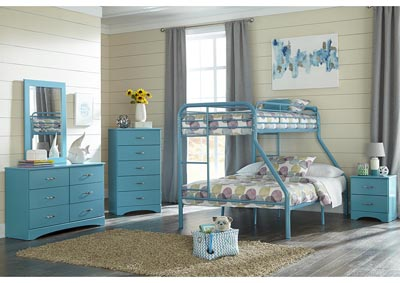 Image for Metal Turquoise Twin/Full Metal Bunkbed