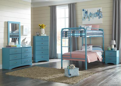 Image for Metal Turquoise Twin/Twin Metal Bunkbed