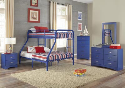 Image for Metal Royal Blue Twin/Full Metal Bunkbed