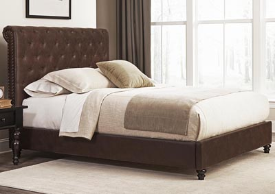 Roll Back Brown Queen Bed