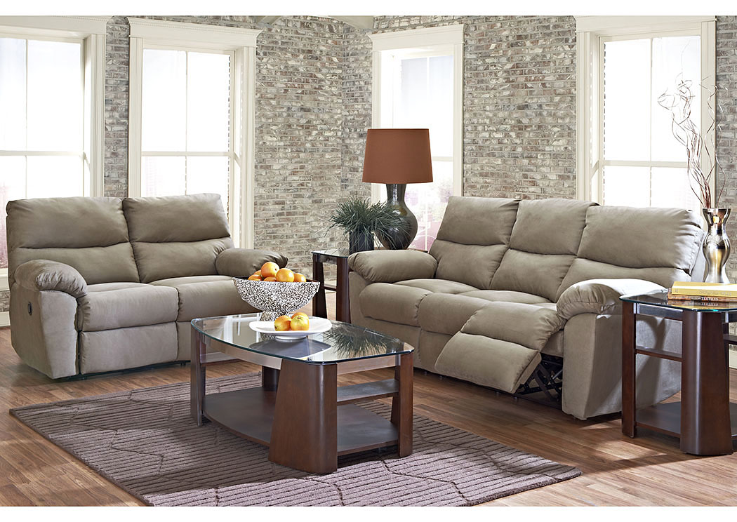 Odessa Microsuede Cappuccino Reclining Sofa,Klaussner Home Furnishings