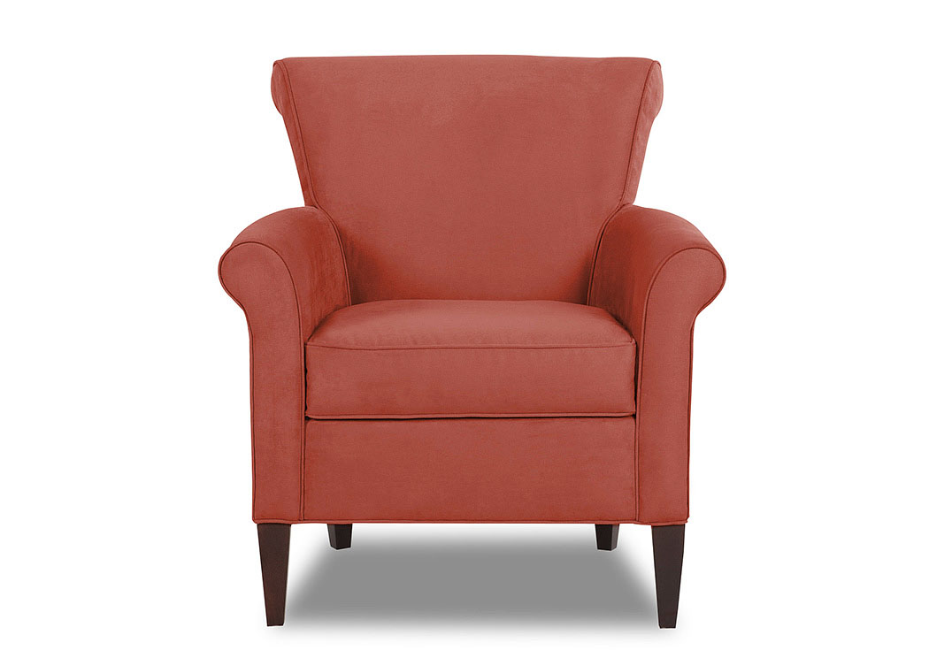 Louise Microsuede Persimmon Stationary Fabric Chair,Klaussner Home Furnishings