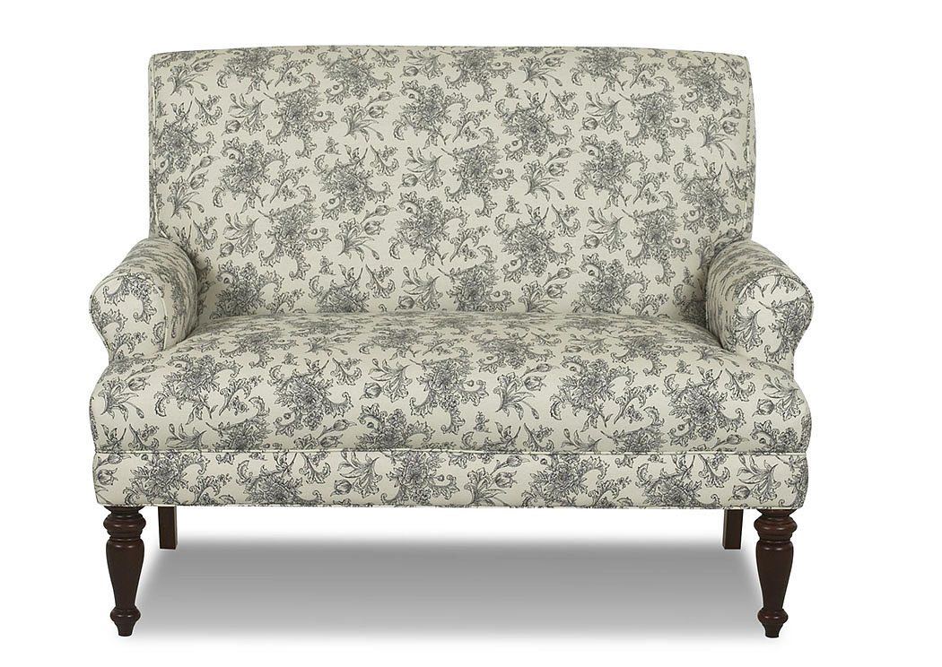 Teasdale Paris Black Floral Stationary Fabric Loveseat,Klaussner Home Furnishings
