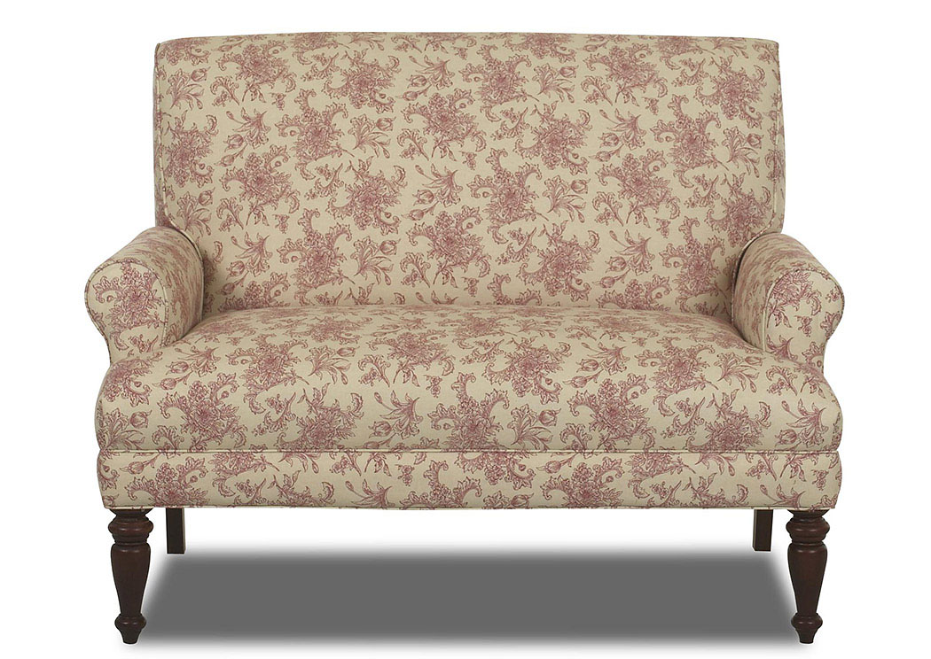 Teasdale Paris Red Floral Stationary Fabric Loveseat,Klaussner Home Furnishings