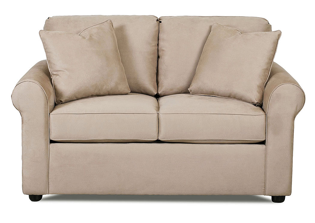 Brighton Microsuede Khaki Stationary Fabric Loveseat,Klaussner Home Furnishings