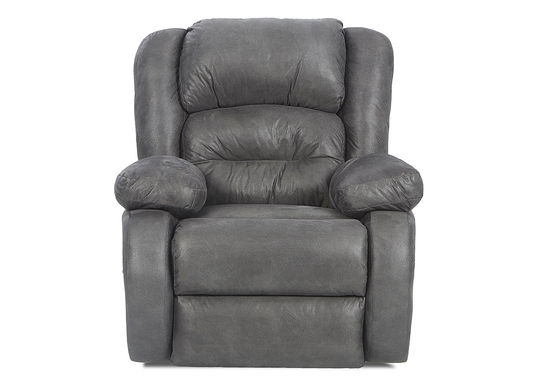 Austin Texan Charcoal Gray Reclining Rocking Fabric Chair,Klaussner Home Furnishings