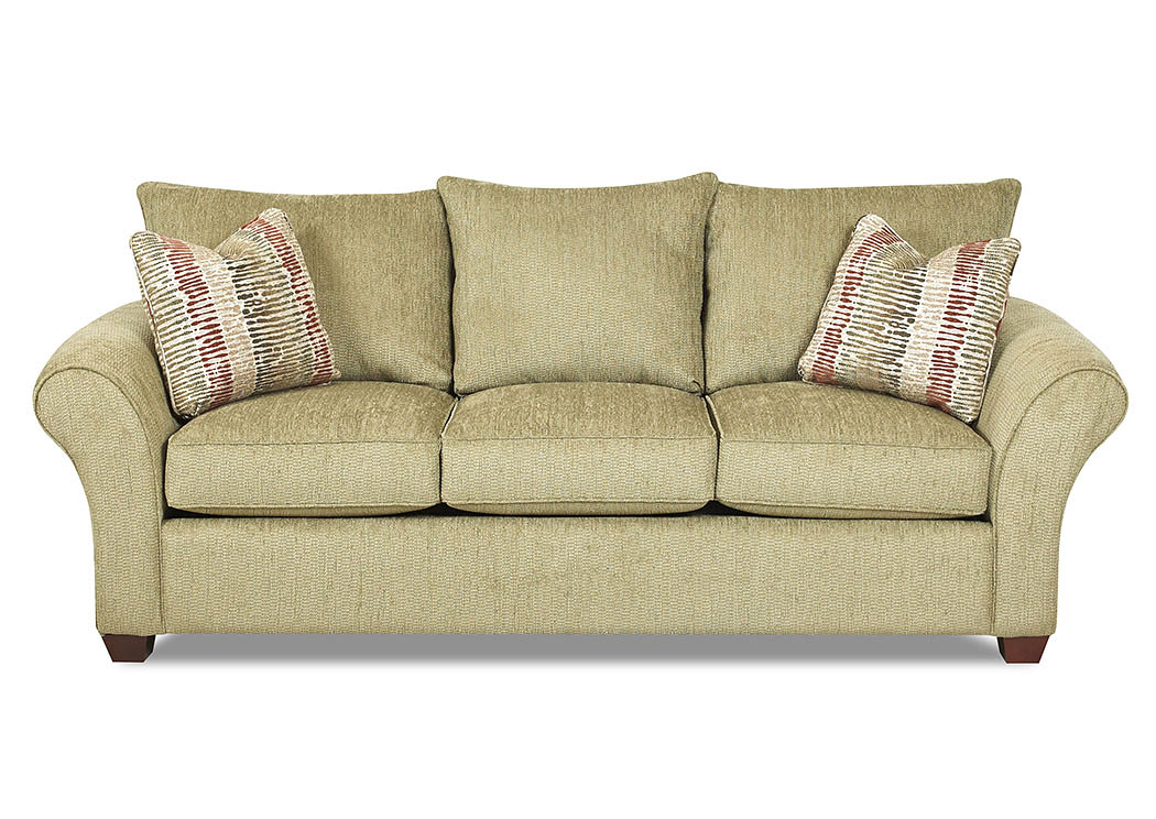 Fletcher Sage Stationary Fabric Sofa,Klaussner Home Furnishings