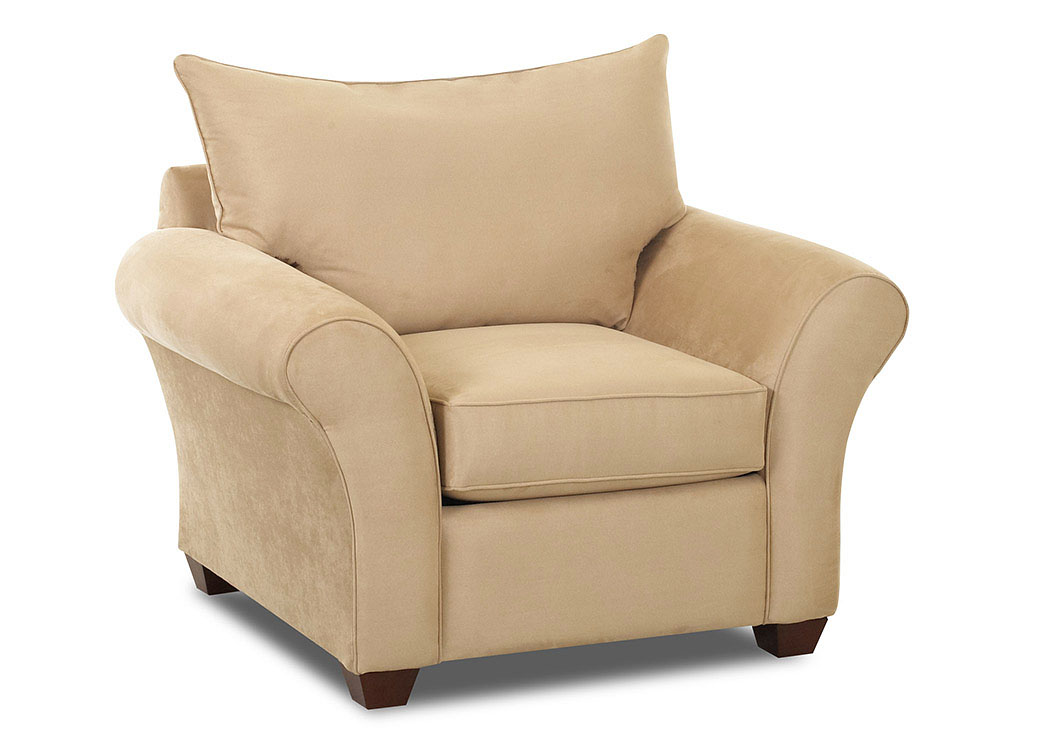 Fletcher Microsuede Camel Stationary Chair,Klaussner Home Furnishings
