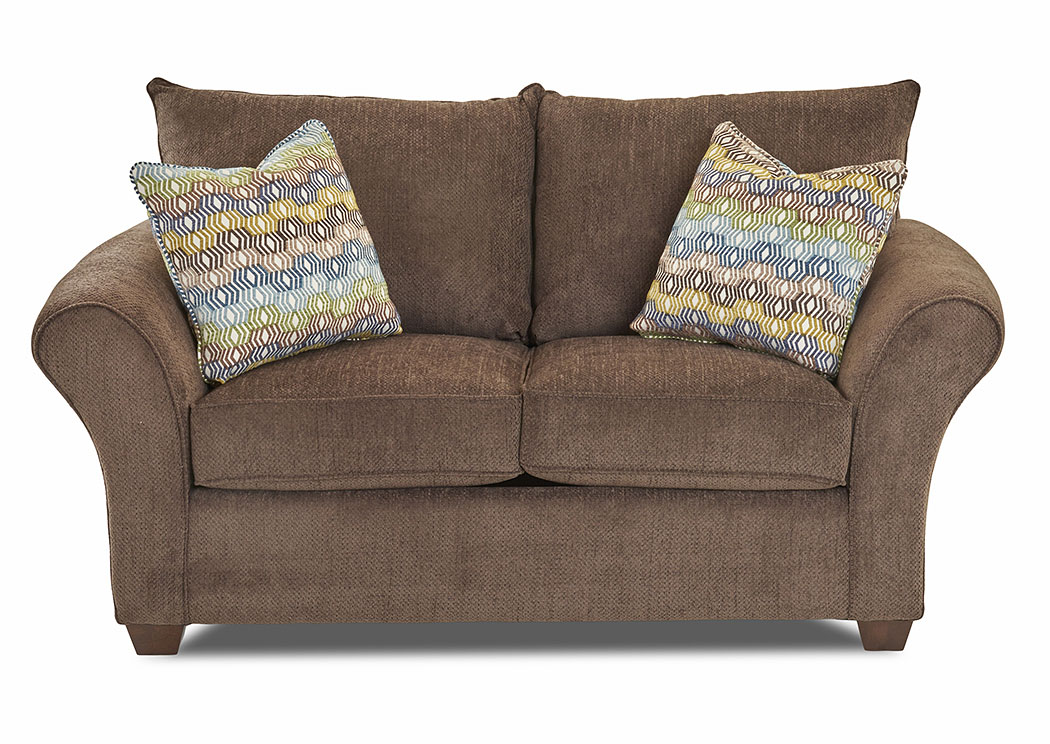 Fletcher Mogo Chocolate Stationary Fabric Loveseat,Klaussner Home Furnishings