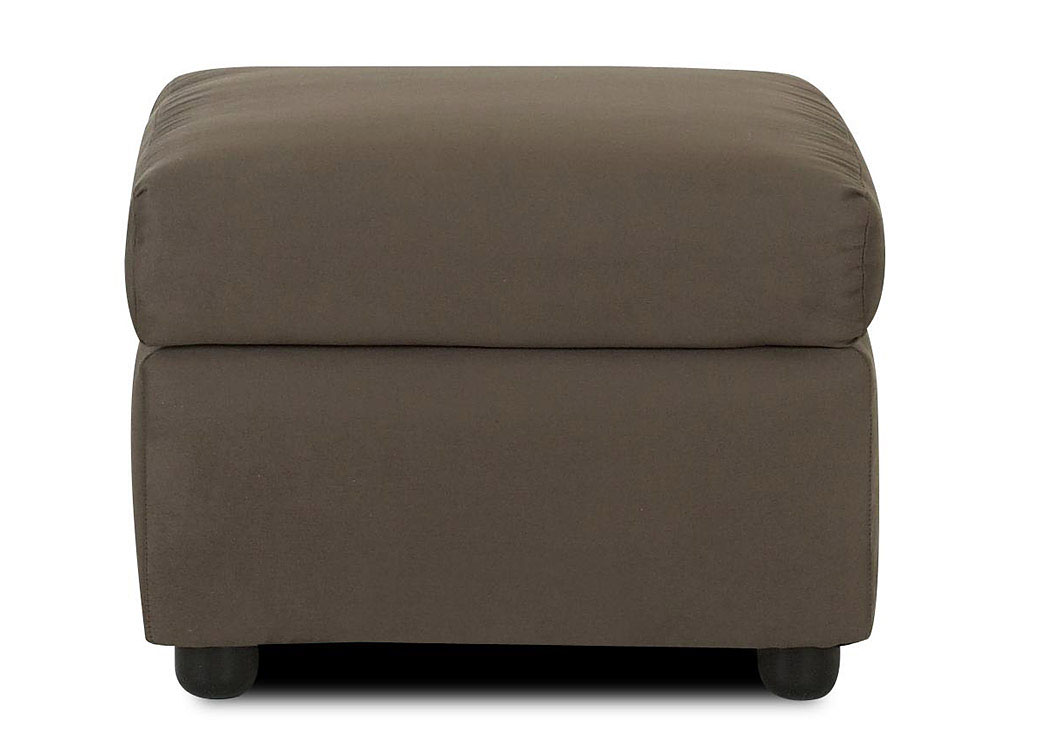 Jacobs Microsuede Thyme Brown Stationary Fabric Ottoman,Klaussner Home Furnishings