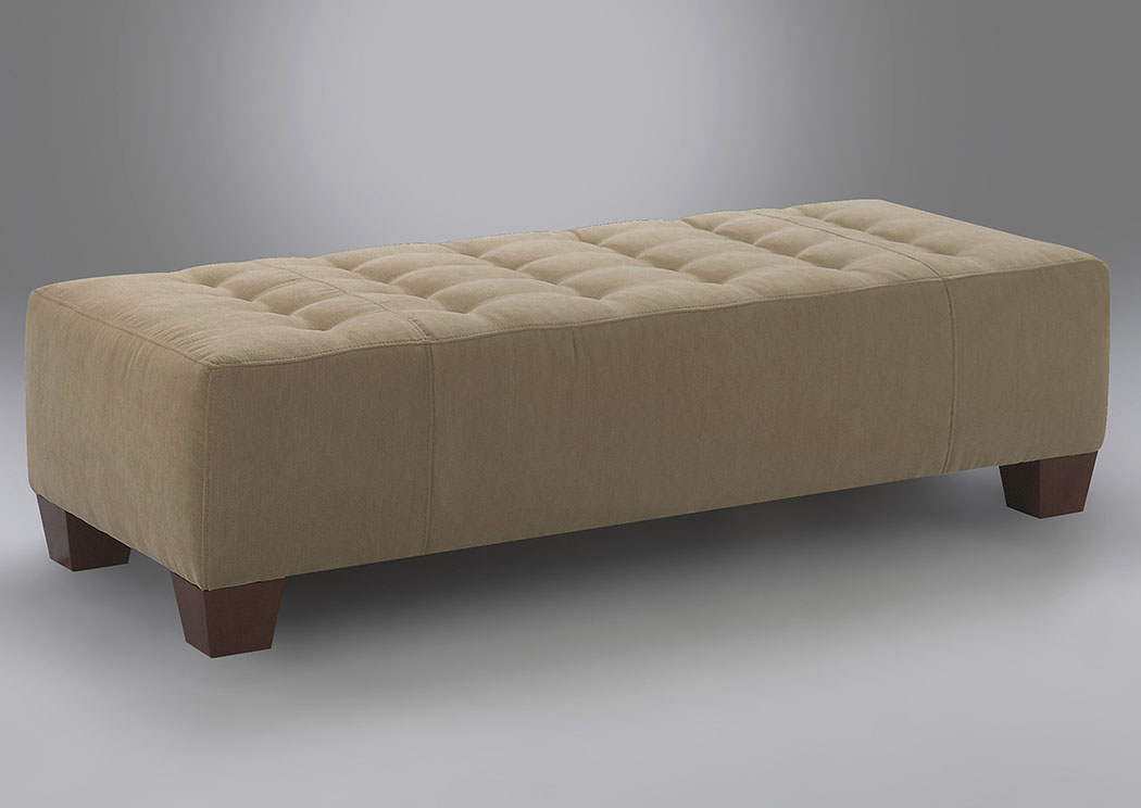 Wayne Manor Sand Fabric Ottoman,Klaussner Home Furnishings