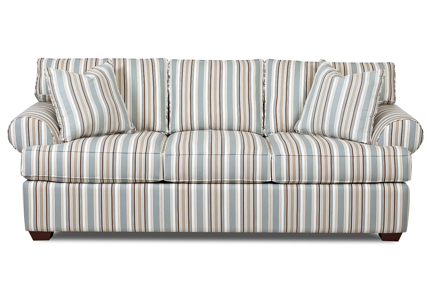 Lady Cocoa Striped Stationary  Sofa,Klaussner Home Furnishings