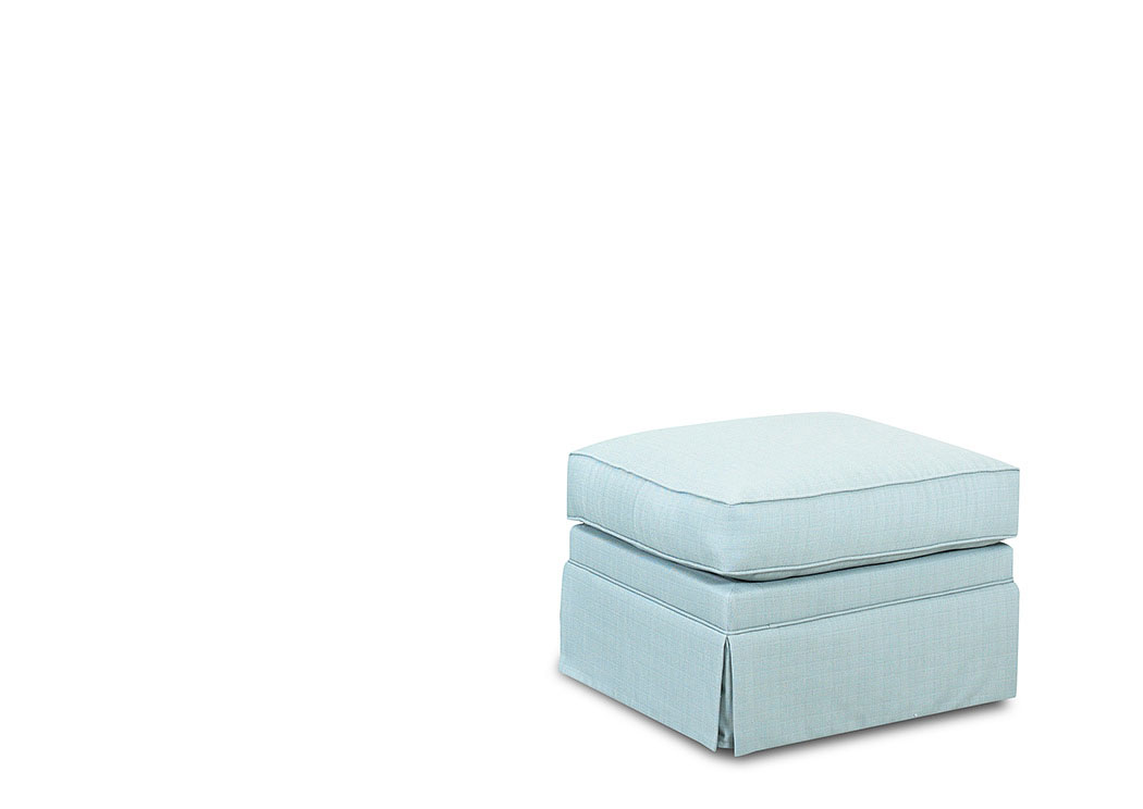 Carolina Surf Blue Stationary Fabric Ottoman,Klaussner Home Furnishings