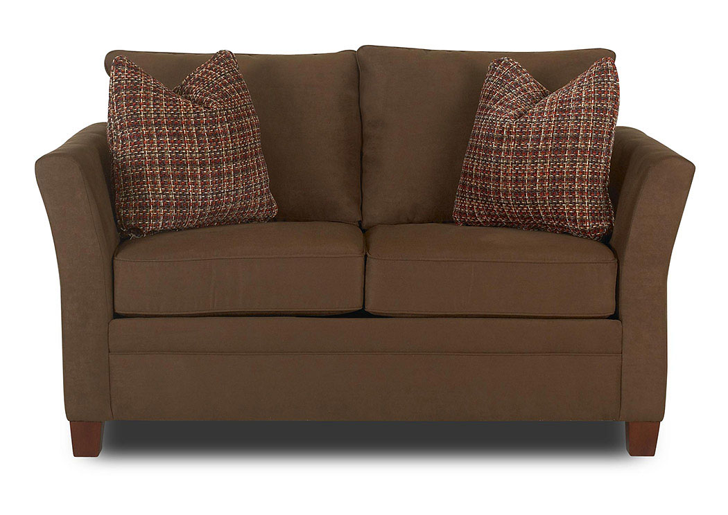 Taylor Microsuede Chocolate Stationary Fabric Loveseat,Klaussner Home Furnishings
