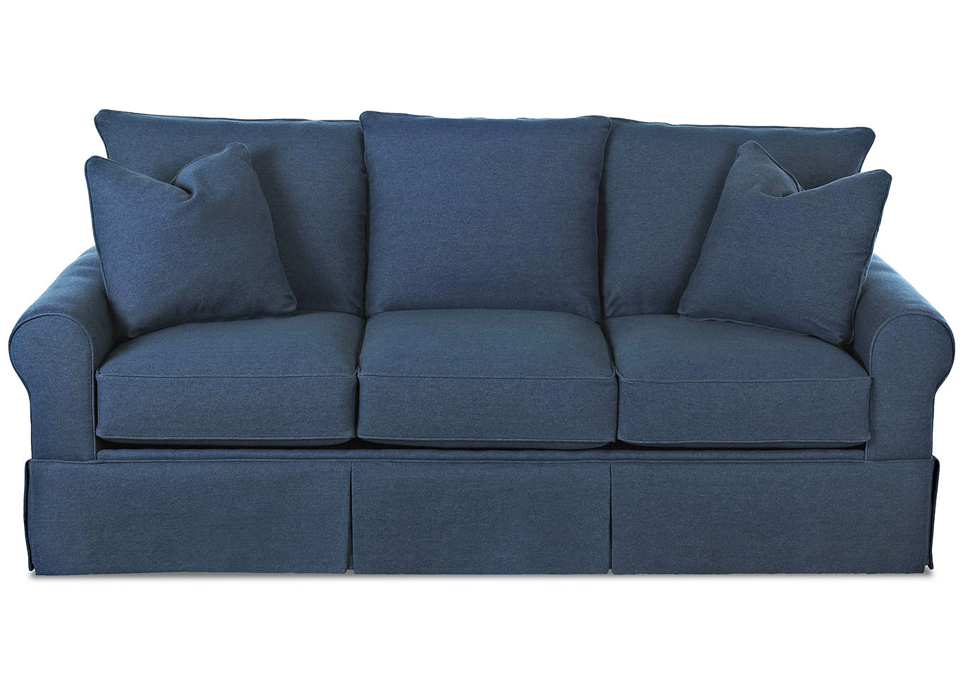 Brook Navy Blue Stationary Fabric Sofa,Klaussner Home Furnishings