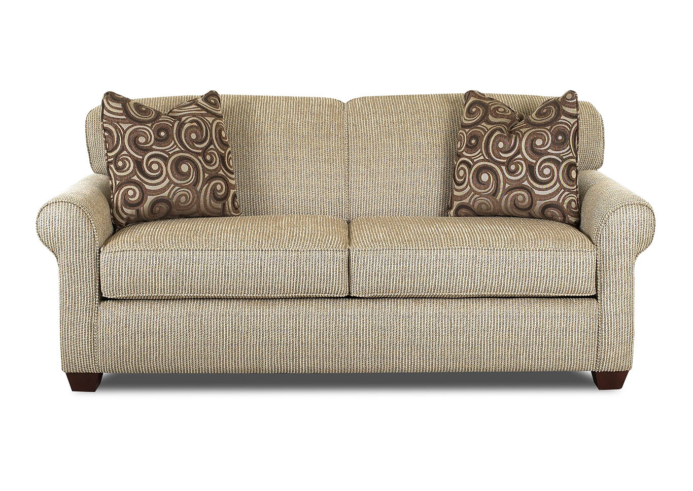 Mayhew Tan Stationary Fabric Sofa,Klaussner Home Furnishings