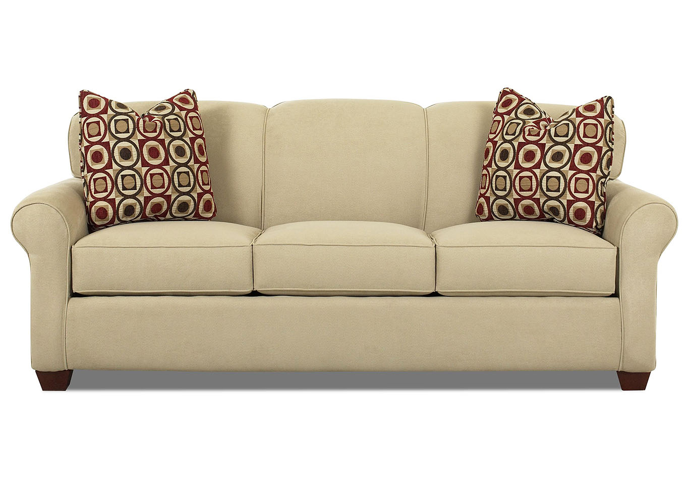 Mayhew Oatmeal Brown Stationary Fabric Sofa,Klaussner Home Furnishings