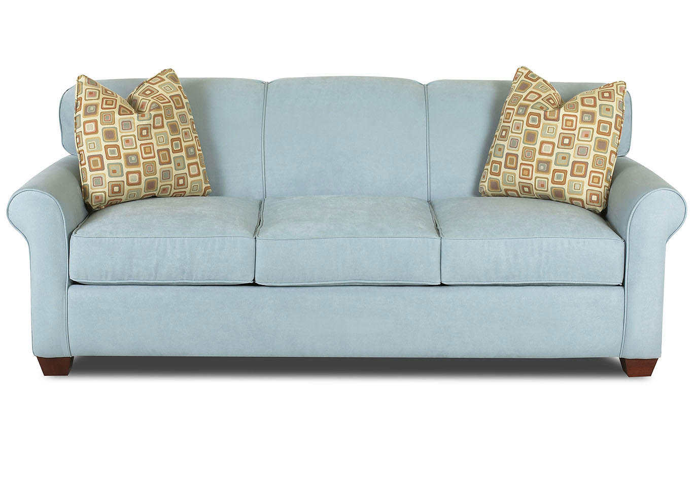 Mayhew Sky Blue Stationary Fabric Sofa,Klaussner Home Furnishings