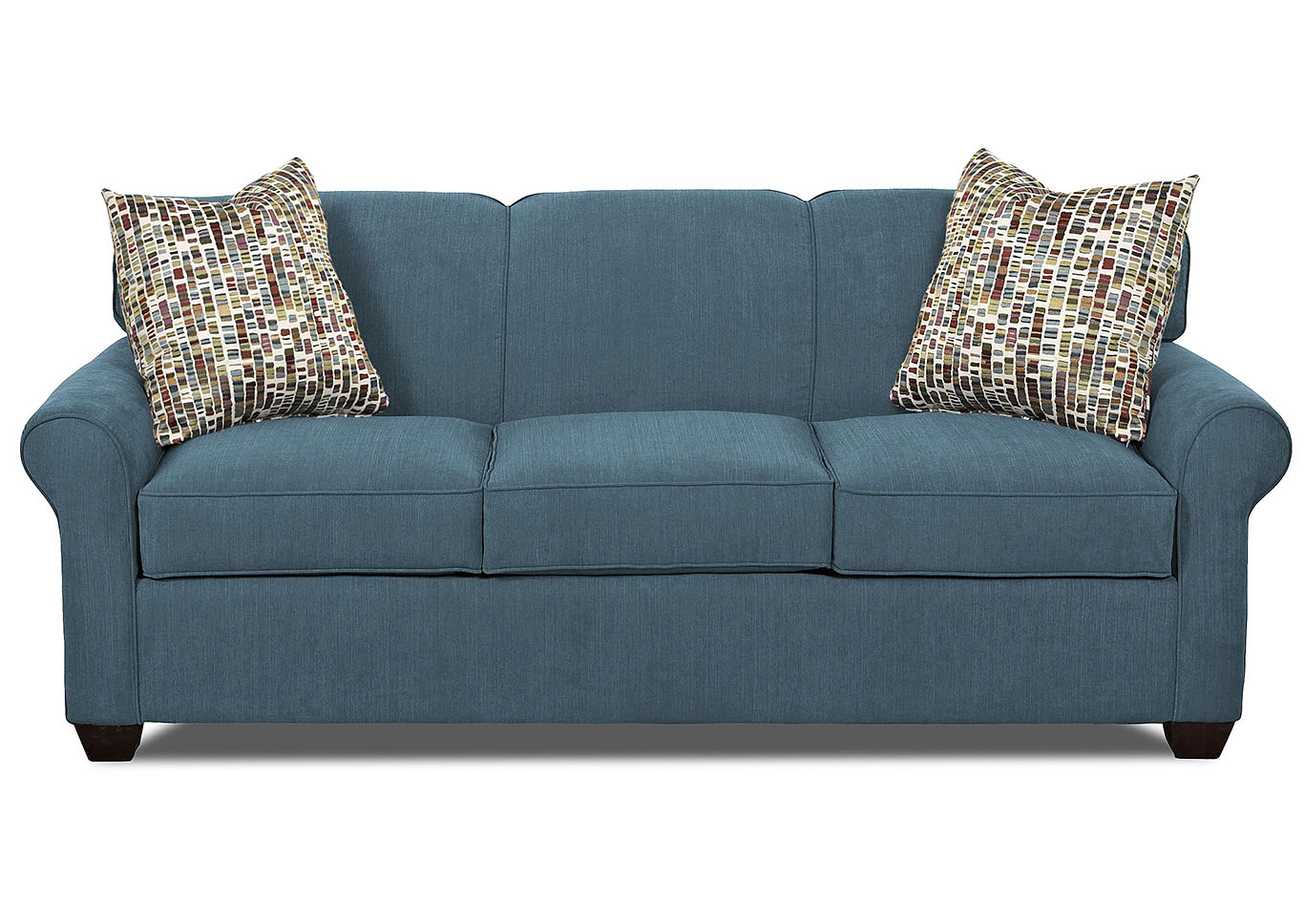 Mayhew Teal Stationary Fabric Sofa,Klaussner Home Furnishings