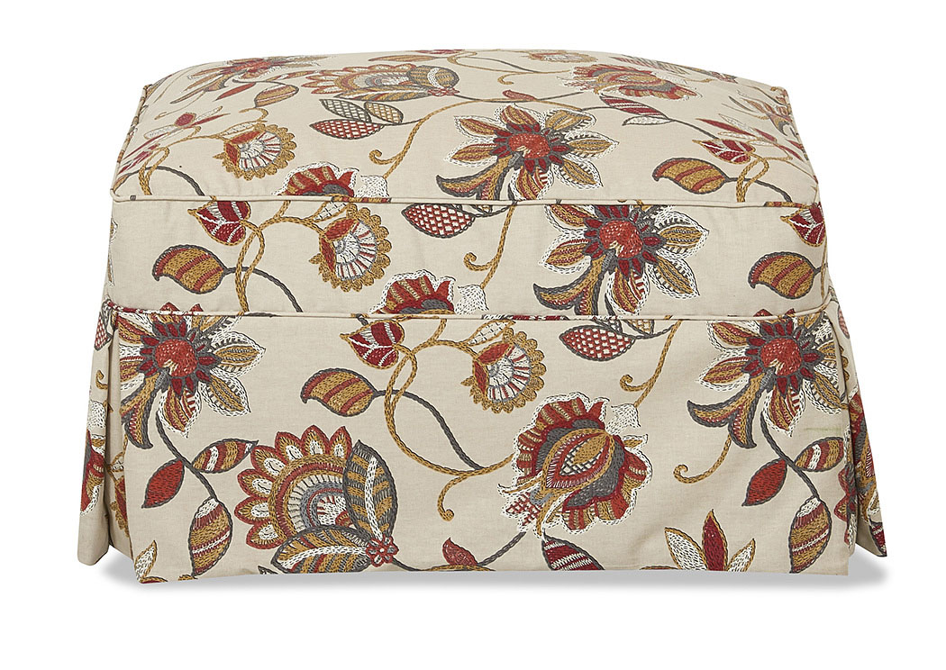 Jenny Sienna Multi-Colored Stationary Fabric Ottoman,Klaussner Home Furnishings