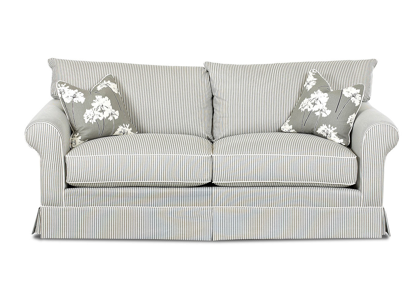 Jenny Polo Storm Striped Stationary Fabric Sofa,Klaussner Home Furnishings