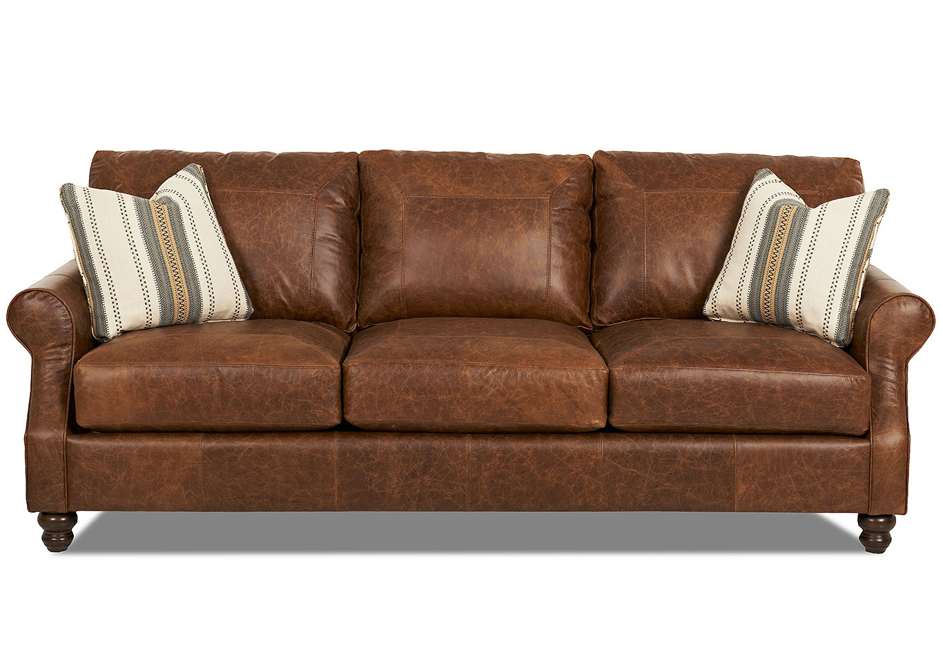 Tifton Brown Stationary Leather Sofa,Klaussner Home Furnishings