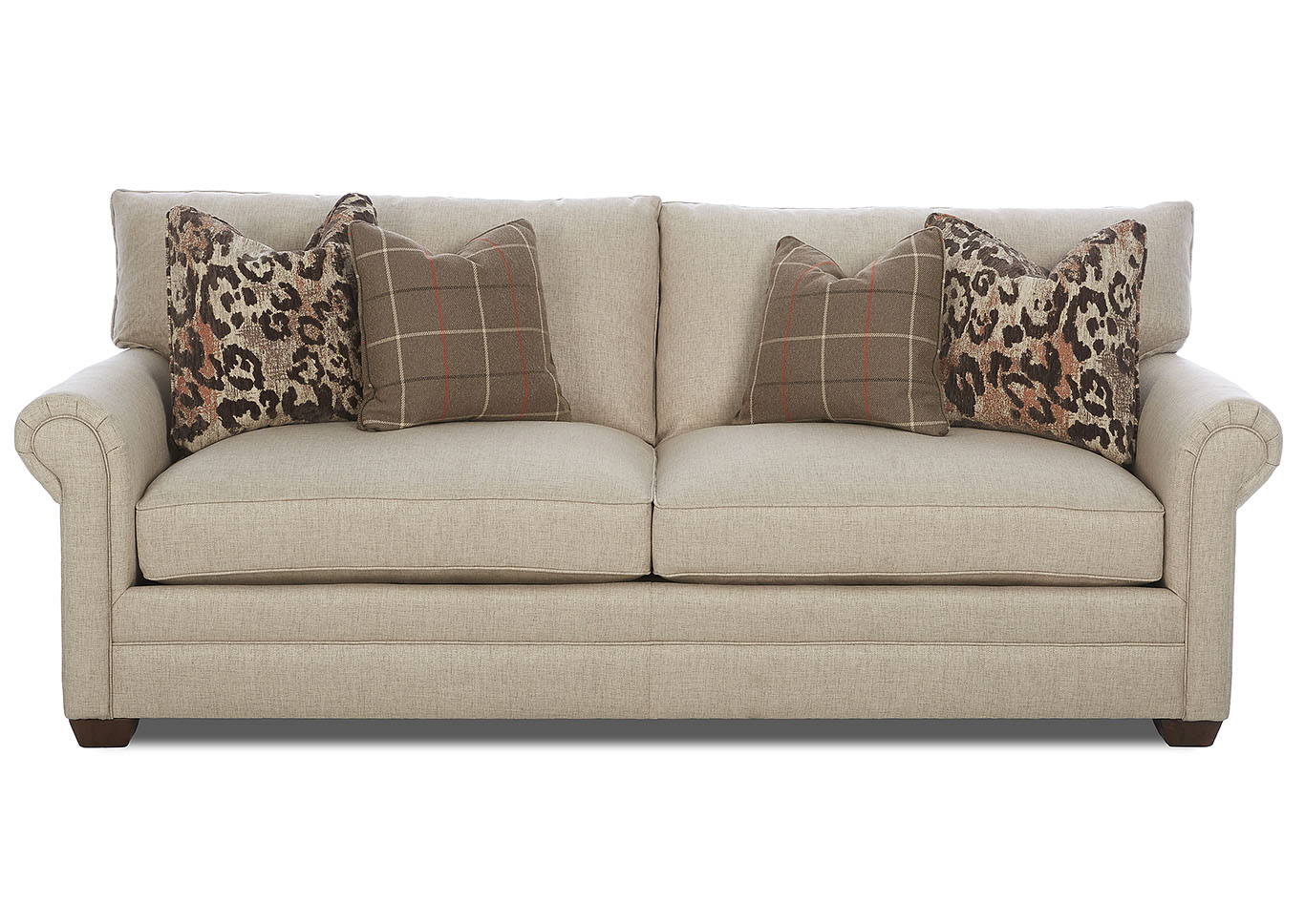 Huntley Beige Stationary Fabric Sofa,Klaussner Home Furnishings