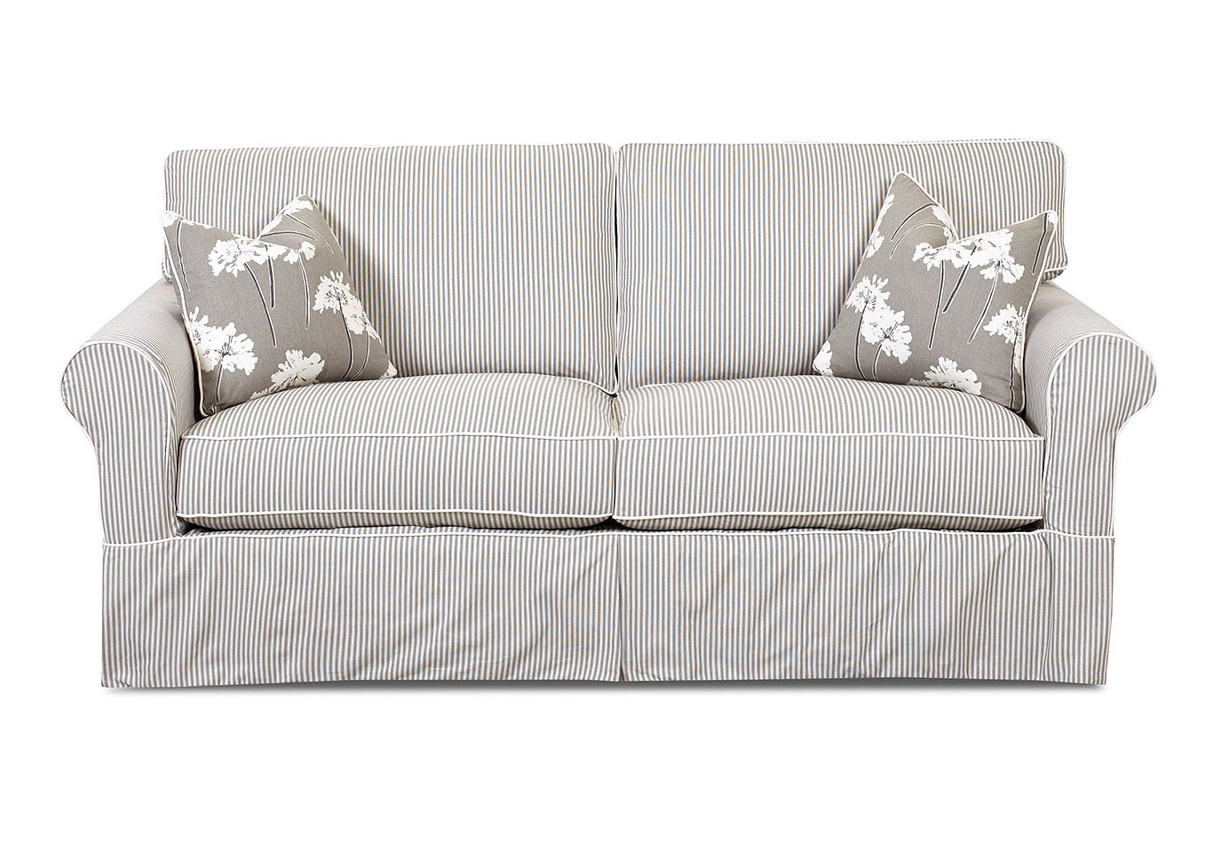 Southern Shores Polo Storm Striped Stationary Fabric Sofa,Klaussner Home Furnishings