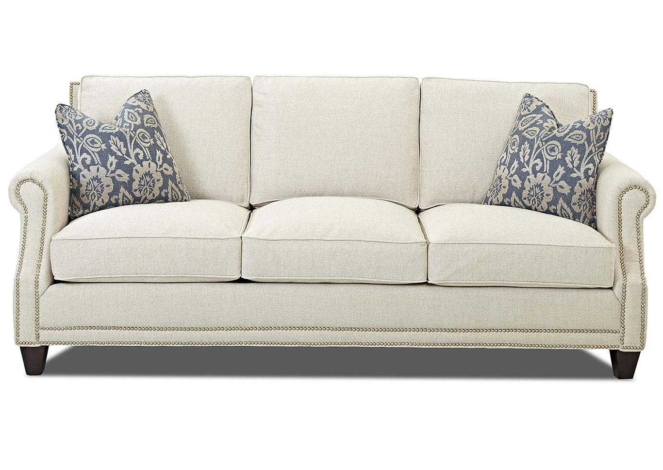 York Deauville Vanilla Stationary Fabric Sofa,Klaussner Home Furnishings