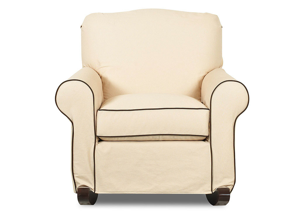 Old Town White Oatmeal Rocking Fabric Chair,Klaussner Home Furnishings