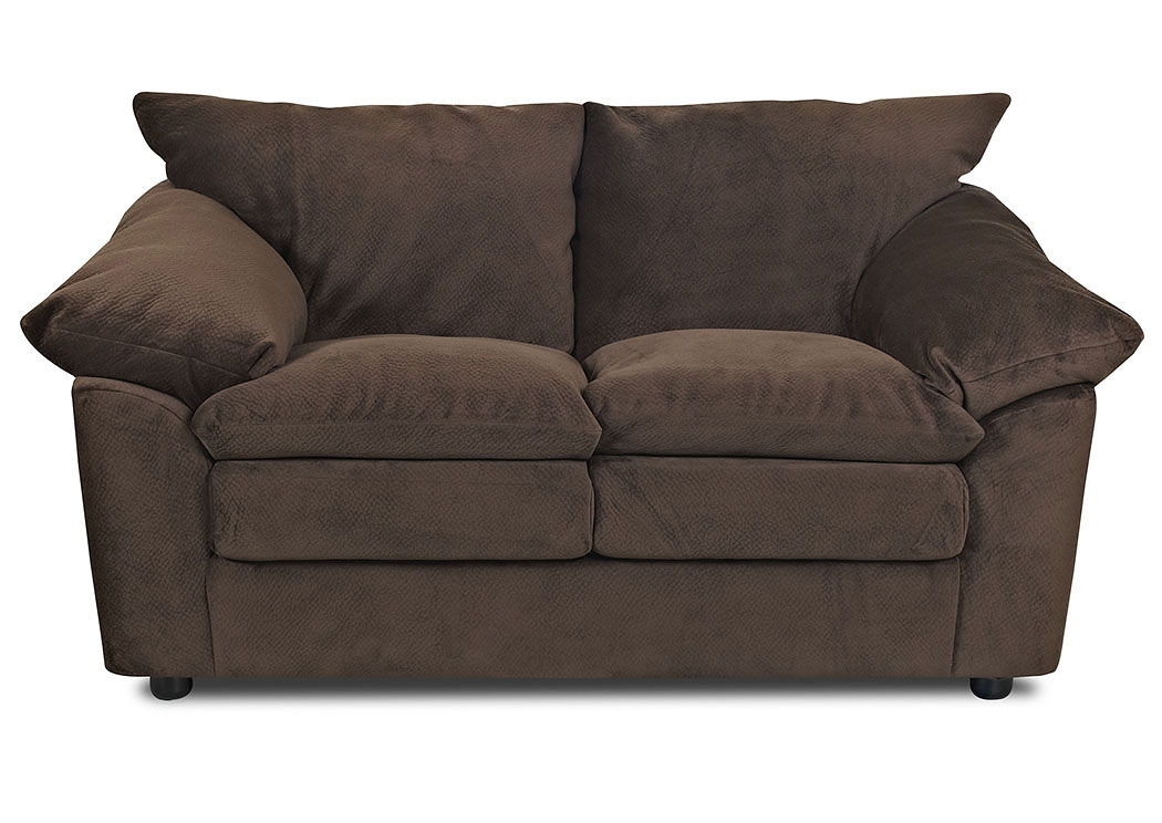 Heights Challenger Chocolate Stationary Fabric Loveseat,Klaussner Home Furnishings