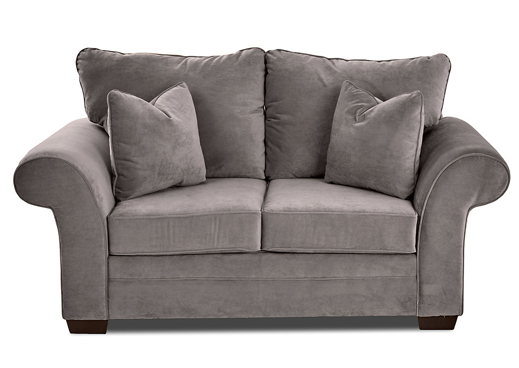 Holly Tina Asphalt Gray Stationary Fabric Loveseat,Klaussner Home Furnishings