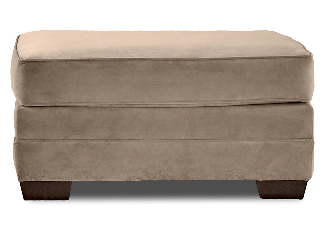 Holly Tina Charcoal Brown Stationary Fabric Ottoman,Klaussner Home Furnishings
