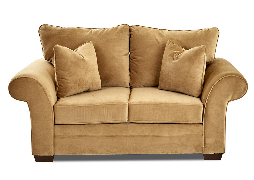 Holly Tina Coffee Brown Stationary Fabric Loveseat,Klaussner Home Furnishings
