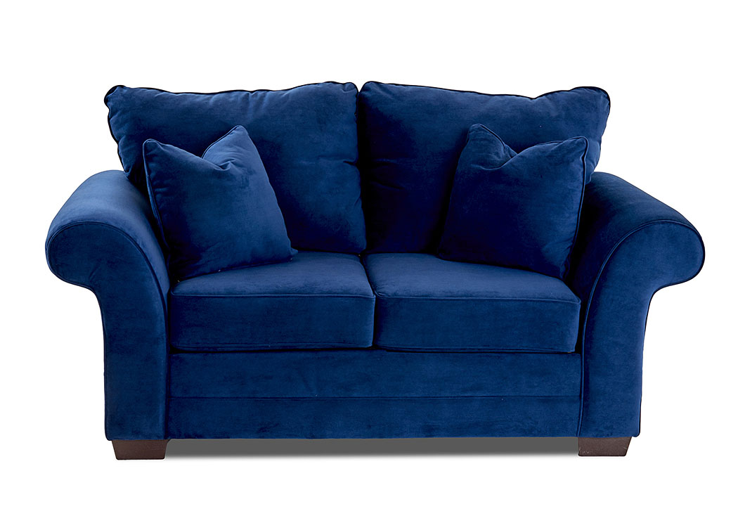 Holly Tina Indigo Stationary Fabric Loveseat,Klaussner Home Furnishings