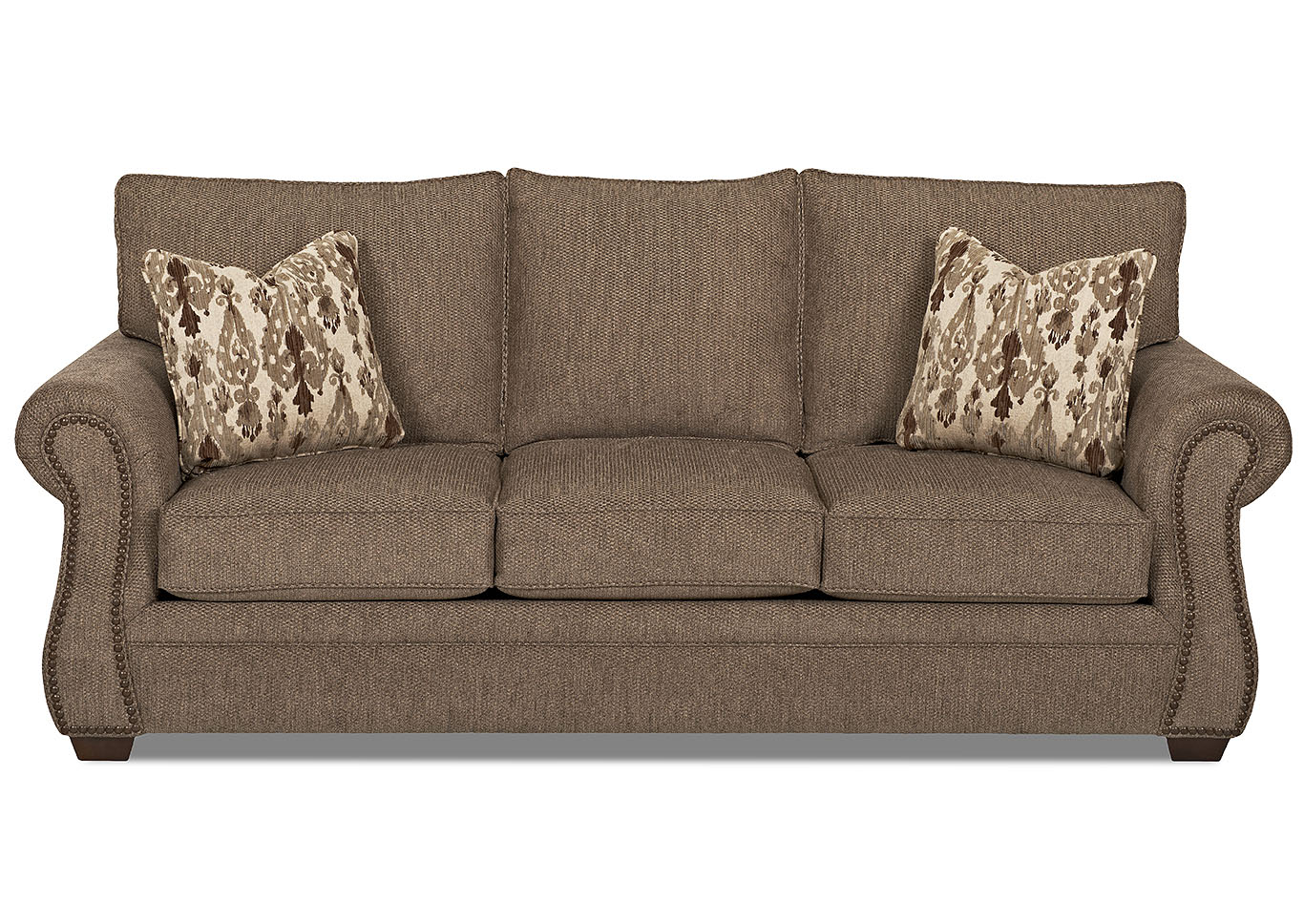 Jasper Otter Brown Stationary Fabric Sofa,Klaussner Home Furnishings
