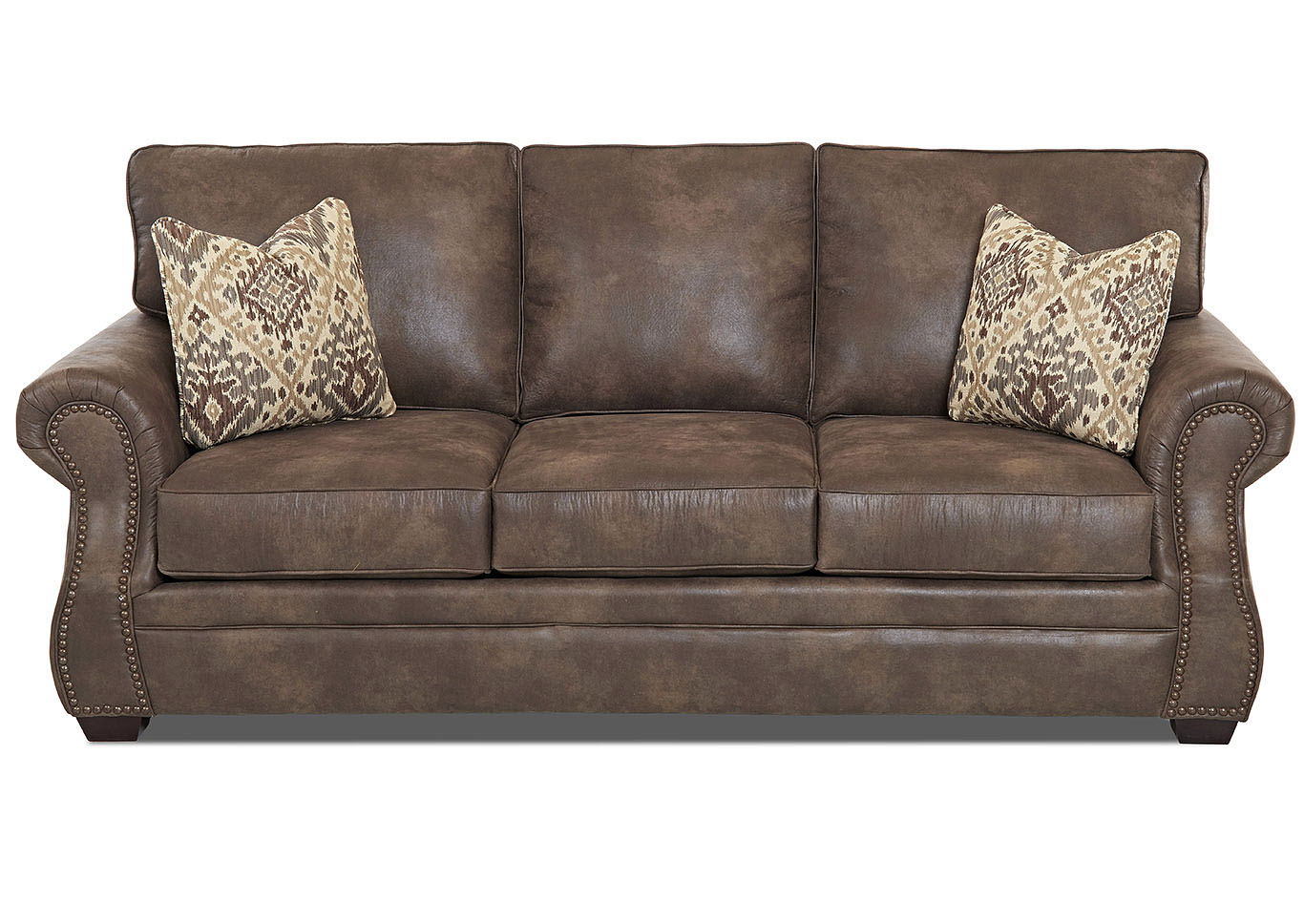 Jasper Taupe Stationary Leather Sofa,Klaussner Home Furnishings