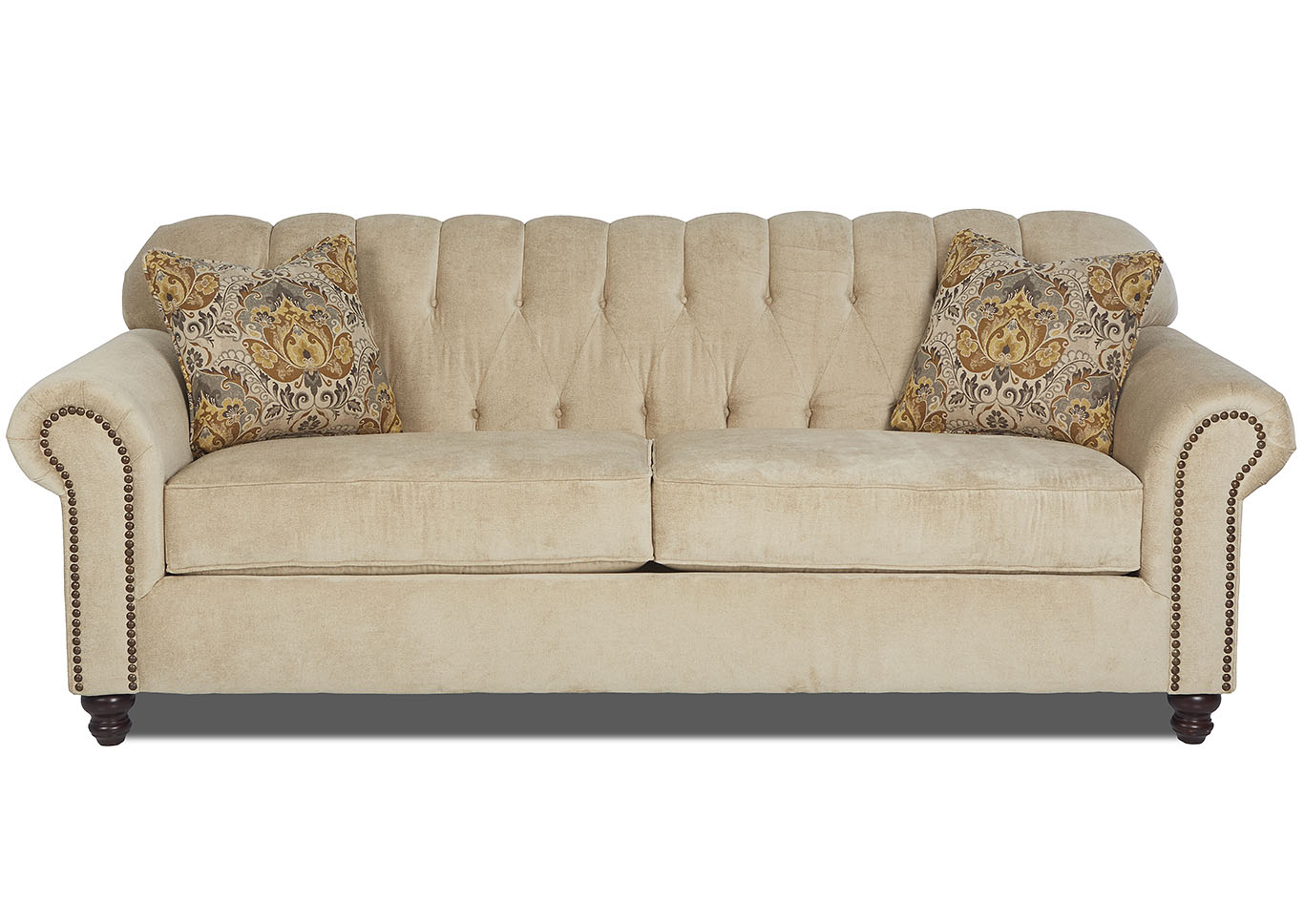 Sinclair Ecru Stationary Fabric Sofa,Klaussner Home Furnishings