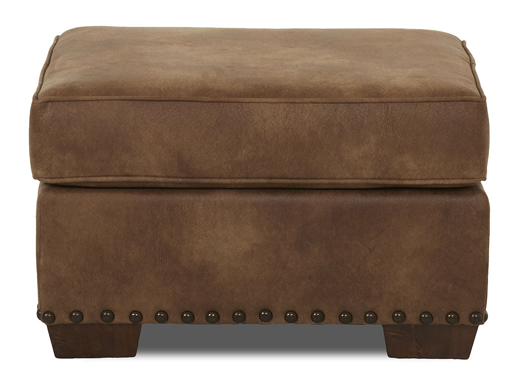 Blackburn Padre Almond Stationary Leather Ottoman,Klaussner Home Furnishings