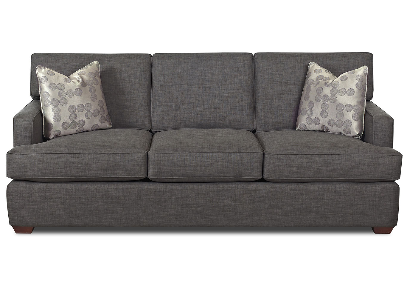 Loomis Charcoal Gray Stationary Fabric Sofa,Klaussner Home Furnishings