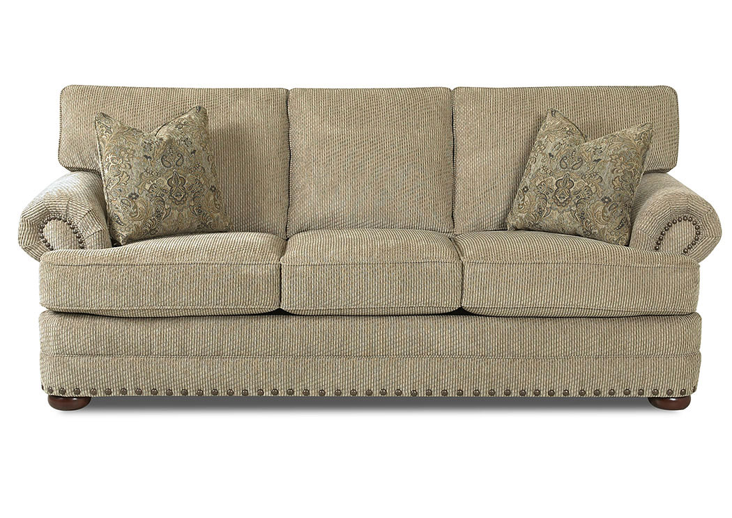 Cliffside Deluxe Platinum Stationary Fabric Sofa,Klaussner Home Furnishings