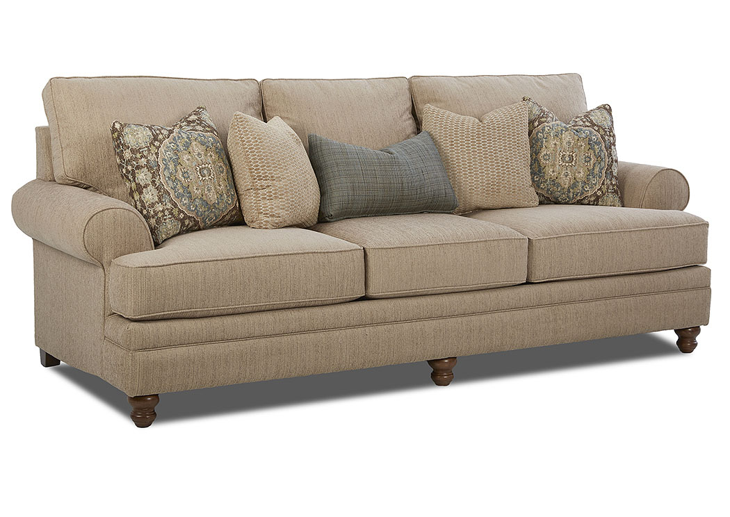 Darcy Jazz Stone Stationary Fabric Sofa,Klaussner Home Furnishings