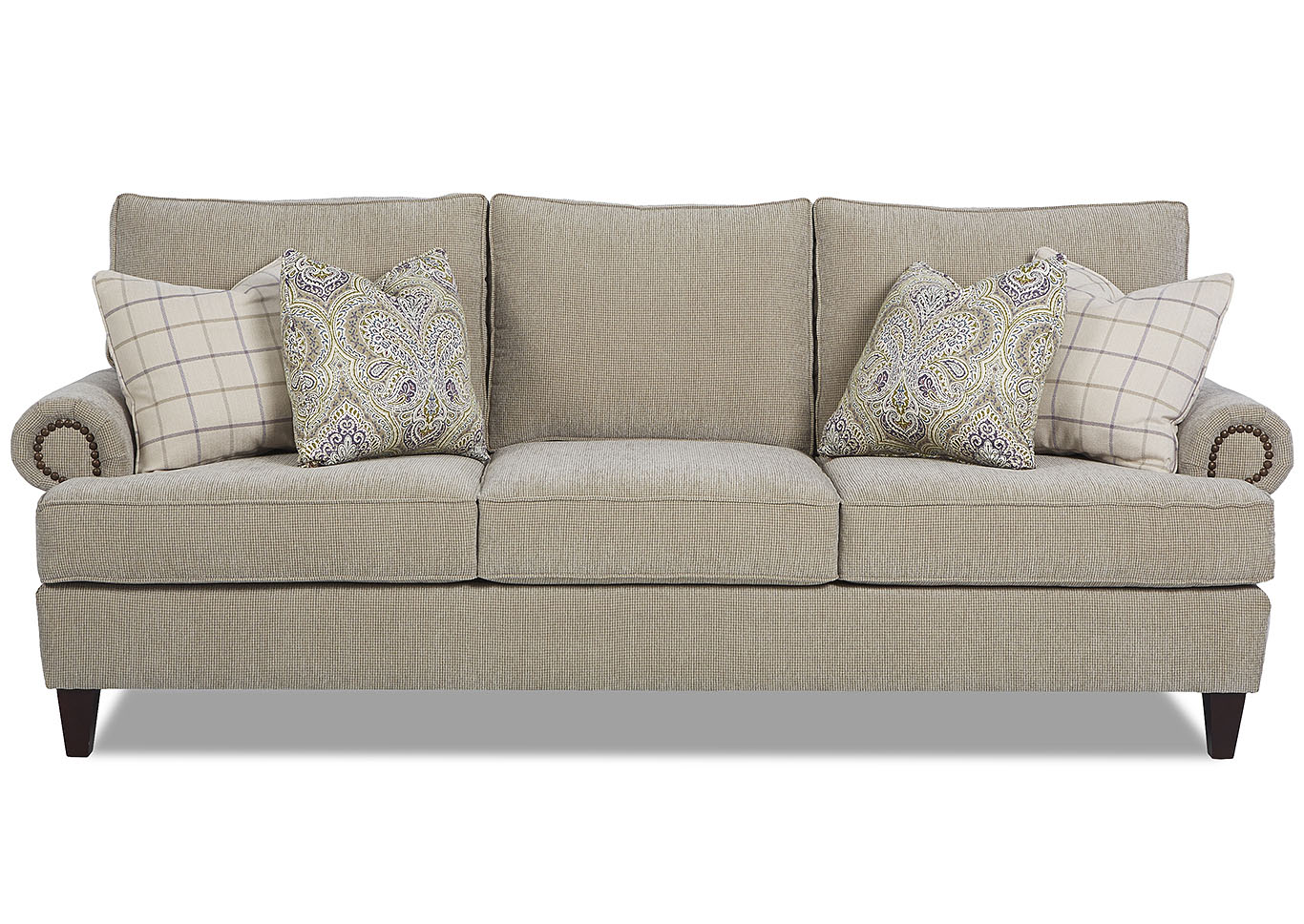 Madison Smoke Gray Stationary Fabric Sofa,Klaussner Home Furnishings