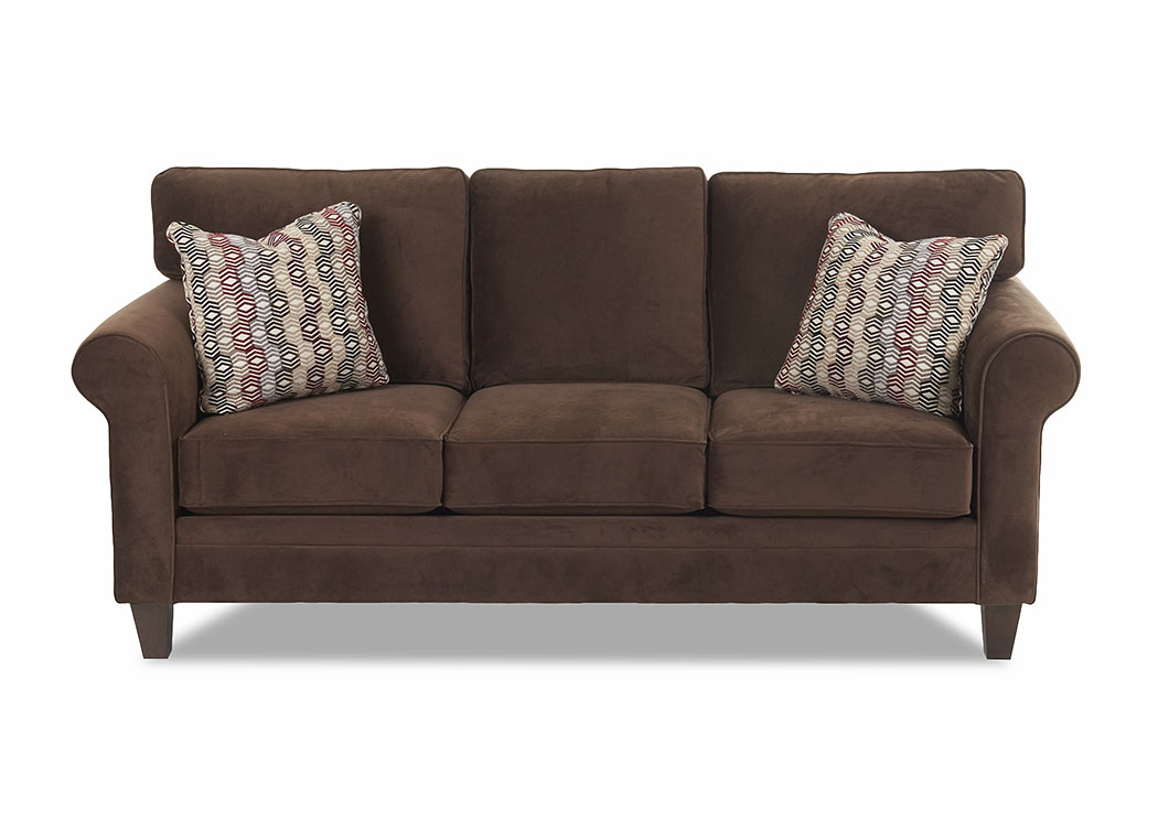 Gates Dark Brown Stationary Fabric Sofa, Dark Brown Furniture