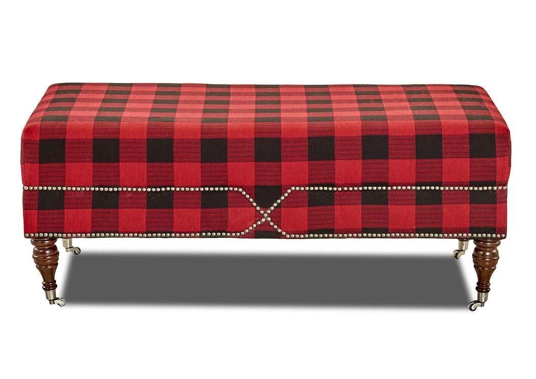 Beaufort Checkered Stationary Fabric Ottoman,Klaussner Home Furnishings
