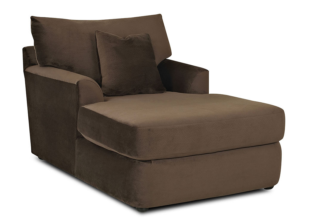 Findley Challenger Chocolate Stationary Fabric Chaise,Klaussner Home Furnishings