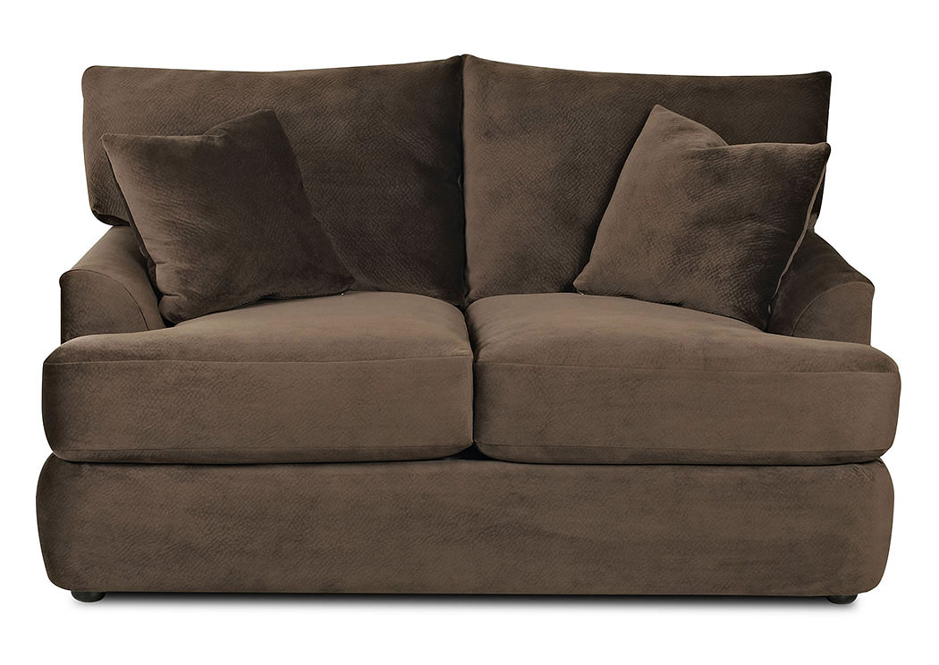 Findley Challenger Chocolate Stationary Fabric Loveseat,Klaussner Home Furnishings