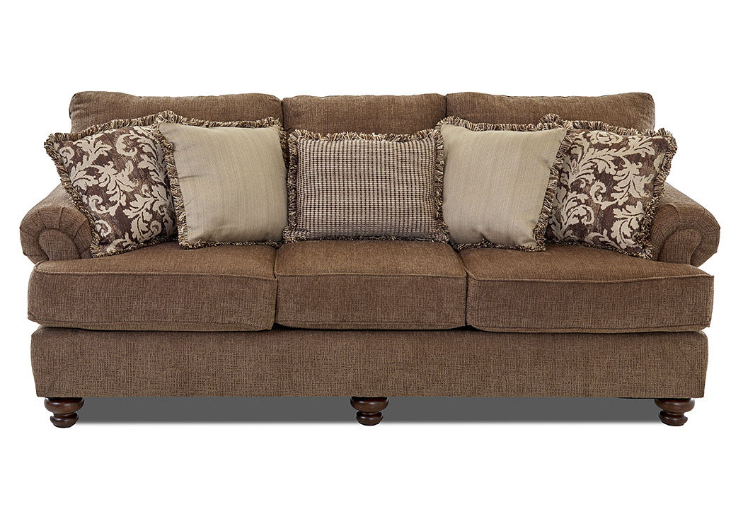 Greenvale CrissCross Leather Fabric Stationary Sofa,Klaussner Home Furnishings